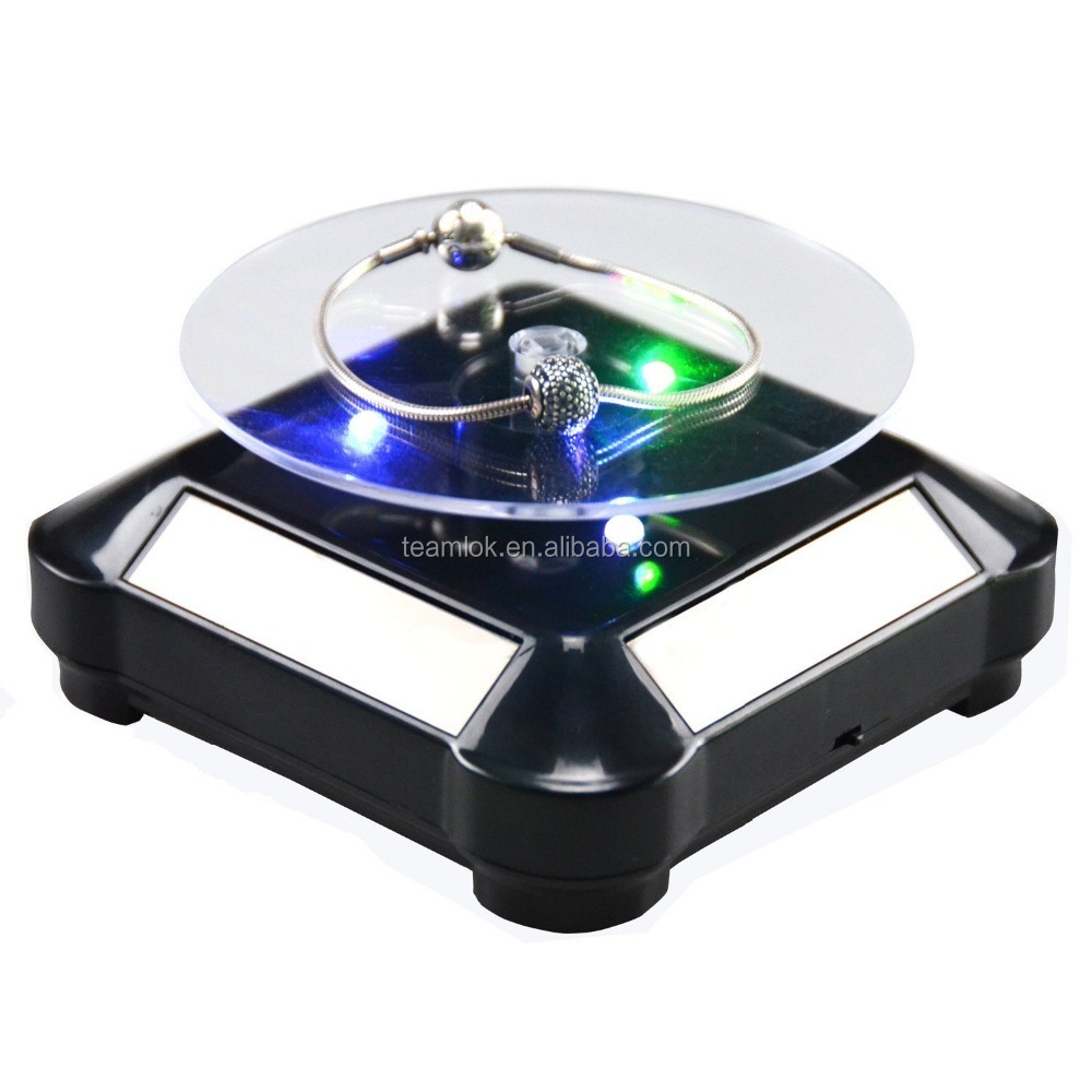 Solar Rotating Turntable Display ,Rotating Stand for Jewelry Watch holder for Various small articles display shelves & Led Light