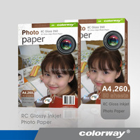RC Waterproof 260g bulk photo paper a4 glossy photo paper
