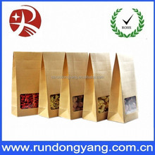 Stand up brown paper medicinal herbs packing bag with window