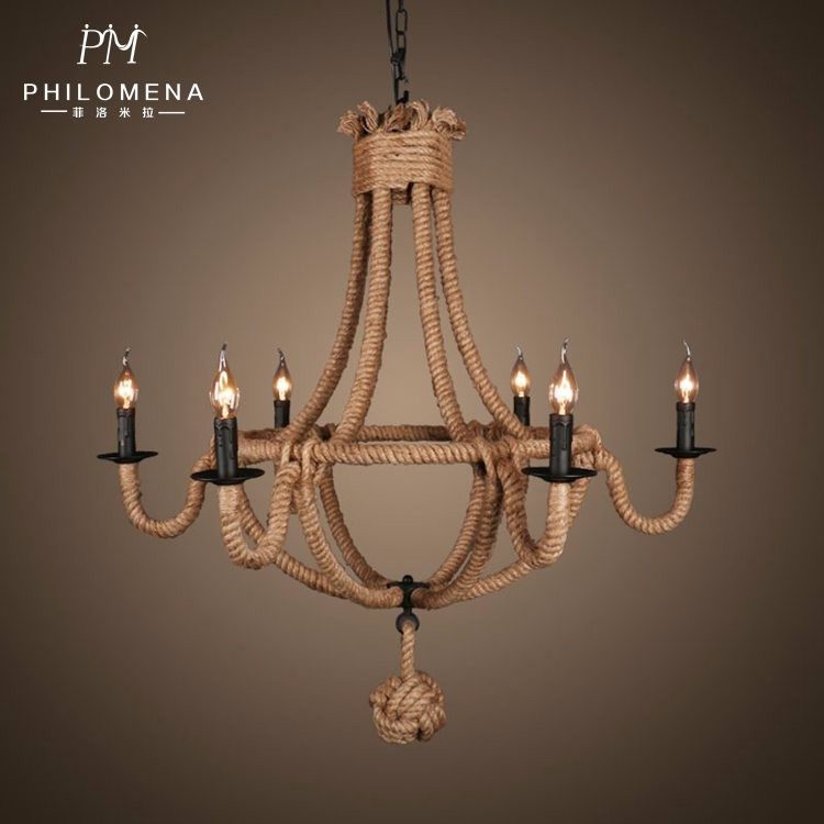 Ce/ul Rustic Country Style Chandelier Lights Rope Candle ...
