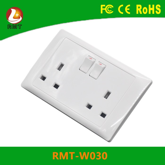 CE approved UK standard multi function wall plastic double 2 gang 13a socket