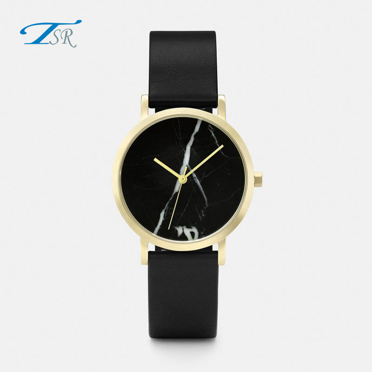 TST Custom Genuine Leather Fashion Stainless Steel Case Back Marble Dial Watch
