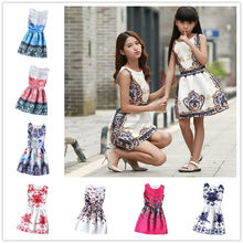 Wholesale Hot Women&Kid Family Outfits Baby Girl Parent-Child Floral Sleeveless Dress