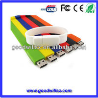 Hot sale Bracelet USB flash drives, silicone bracelet usb 2.0 drive 4gb-32gb wristband usb flash memory