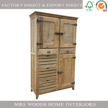 MW Home antique french reclaimed fir 3 door 6 drawer furniture solid wood cabinet