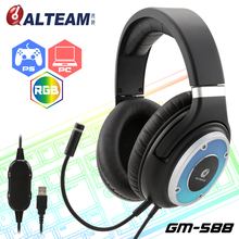 The stereo wired computer gamer gaming headset usb microphones