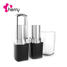 Square shape lipstick tube with clear lipstick cap