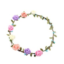 10 Color Handmade Floral Crown Flower Headband Hair Garland Wedding Headpiece Elastic Headband Y007