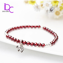 Natural Garnet Stone Charm Bead Bracelet with Thai Silver