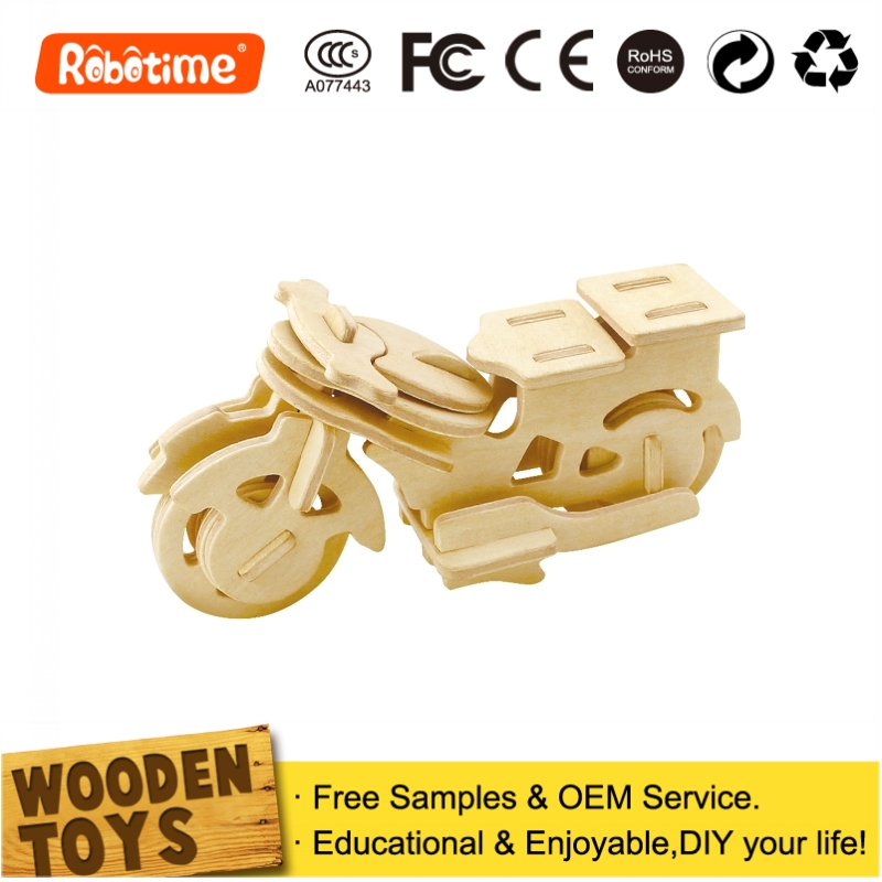 3D Puzzle DIY Wooden Small Toy Motorcycles For Children