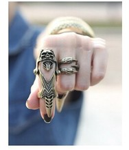 Vintage Brass Steampunk Punk Armor Gothic Skull Rings Long Knuckle Ring