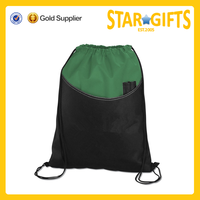 Promotional green recyled non woven drawstring backpack bags