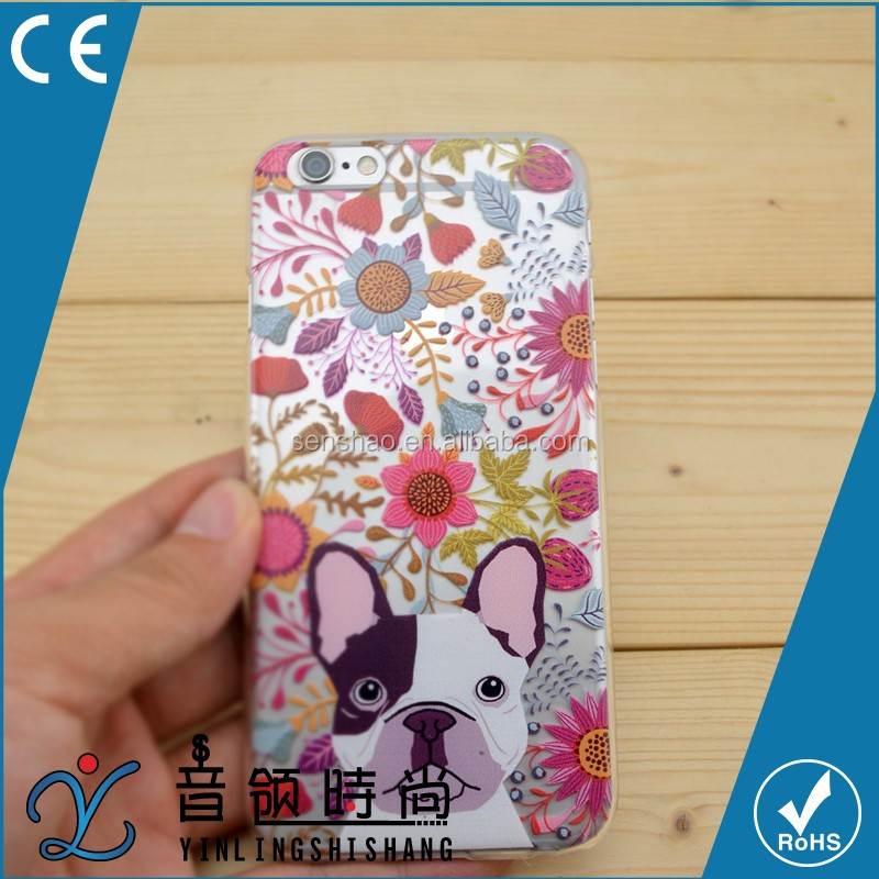 hot selling Custom Printed PC TPU Funky Transparent Cell Cover, flower and dog design Mobile Phone Case cover for iPhone 6