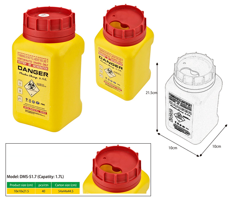 Dailymag New Design Wall Mount FDA 1.8L Medical Waste Disposal Sharps Container For Needles