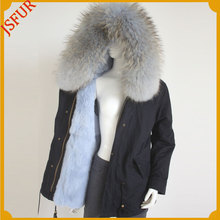Women Jacket With Raccoon Fur Coat Hood Winter Parka For Girls