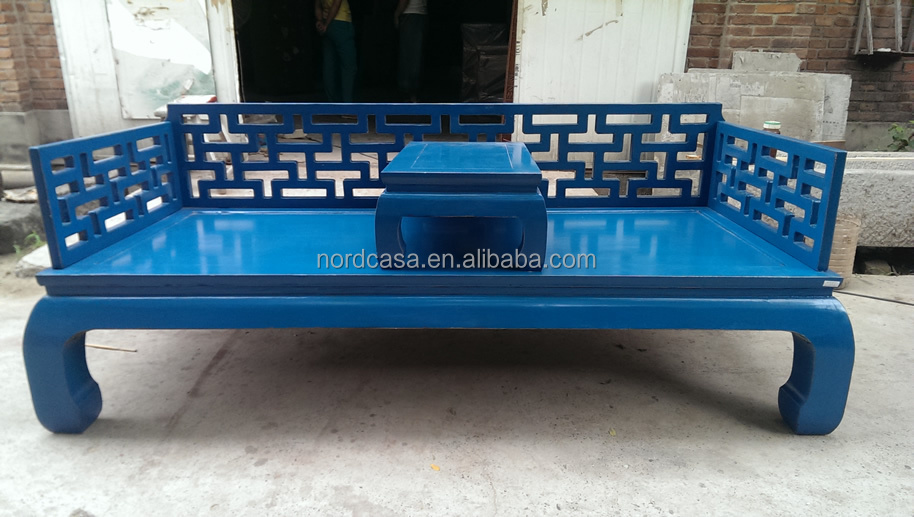 Blue Chinese antique hand carved wooden bed