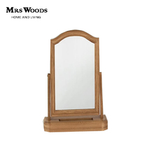 Antique Solid Oak Wood Frame and Base Bedroom Adjustable Hinged Mirror for Vanity