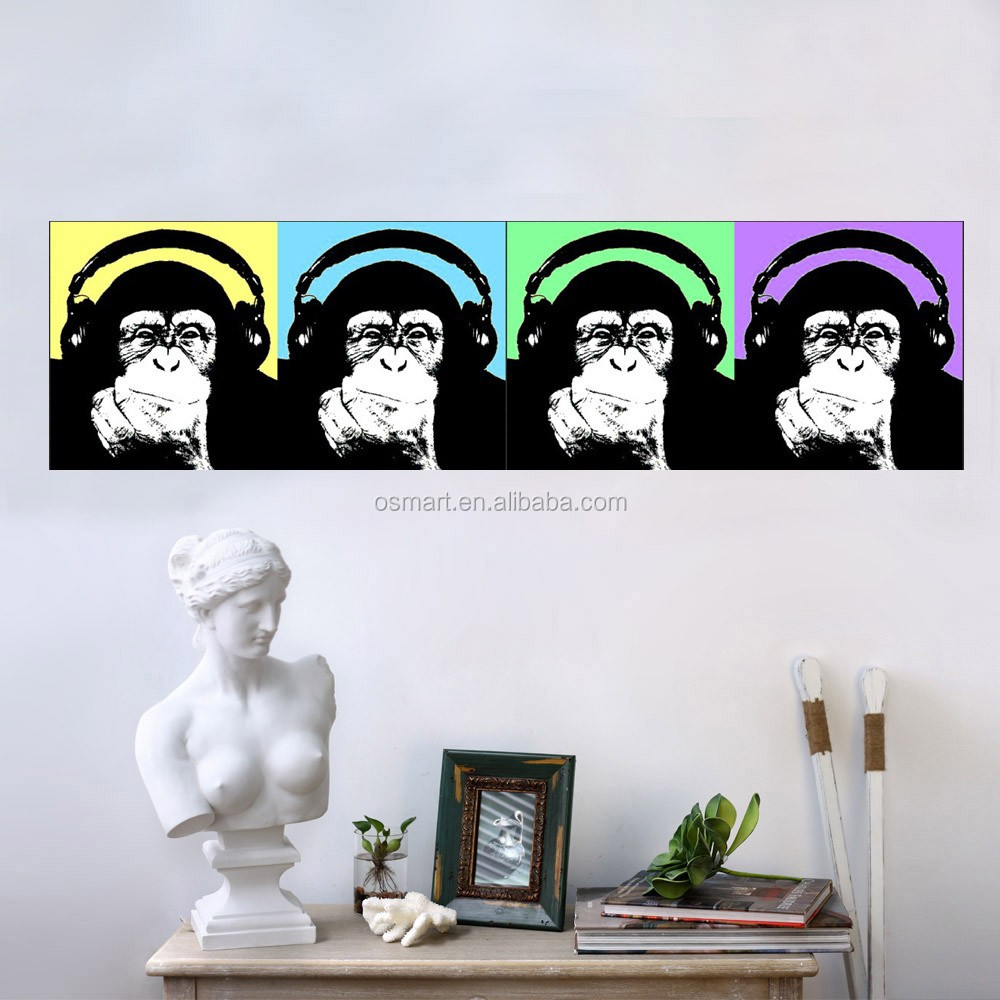 Abstract Monkey Family Oil Painting Handmade Funny Animal Pictures On Canvas