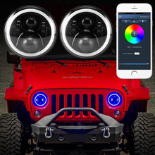 2017 popular 7 inch rgb led headlight for jeep halo angle eyes led headlamp