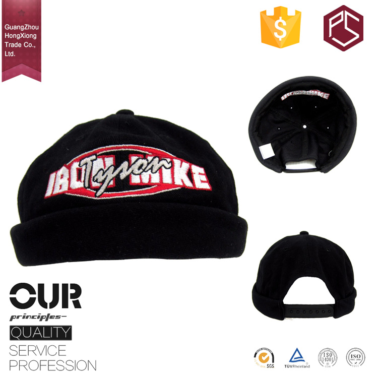 HongXiong factory professional OEM 6 panel black 100% acrylic 2D embroidery brimless baseball cap