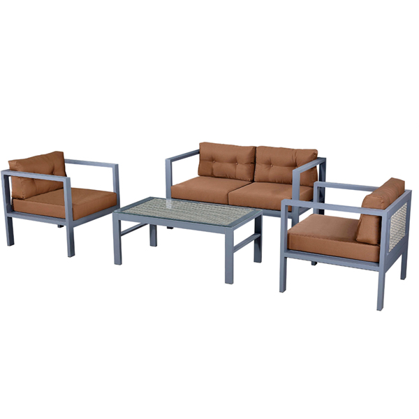 Most Popular outdoor patio fireproof Aluminum PE rattan furniture single/double sofa with tempered glass tea table