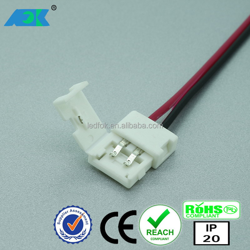 8mm new cutout 2-pin Low Profile Solderless Pigtail Connector for 3528 120/m LED Strip