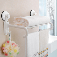 Bathroom Plastic Wall-mounted Towel Rack Towel Shelf with Suction Cup