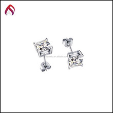 wholesale 925 Sterling Silver Jewelry CZ Square Princess Studs Earrings, earrings studs