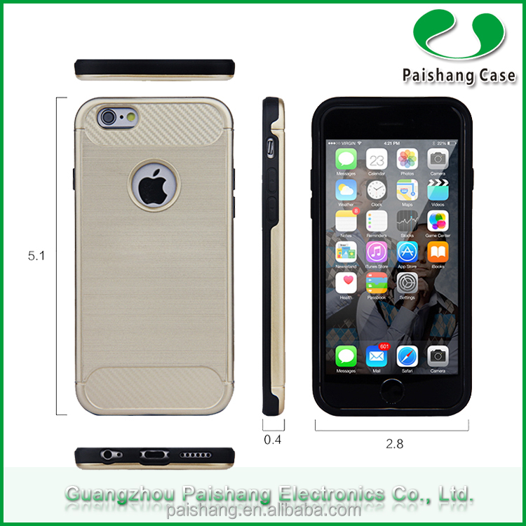 Newest TPU+Brushed pattern PC protective cell phone case manufacturer for iPhone6