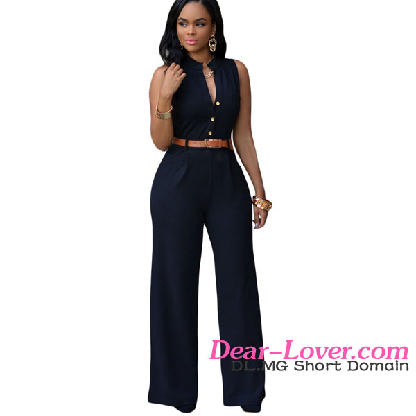 Sexy Clubwear 2016 women clothing Black Belted Wide Leg Jumpsuit