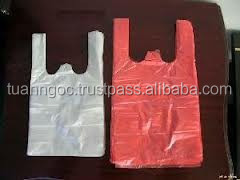18 micron per side, Heat seal hdpe t-shirt plastic bag for super market, retail store, house hold, daily