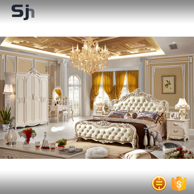 Modern luxury french style king size bedroom set furniture for F908