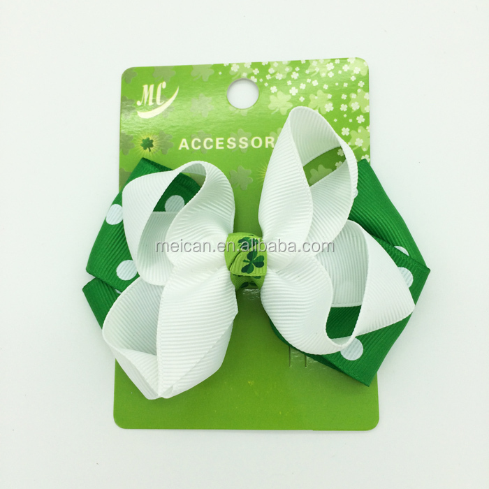St. Patrick's Day theme dot grosgrain hair bow clips