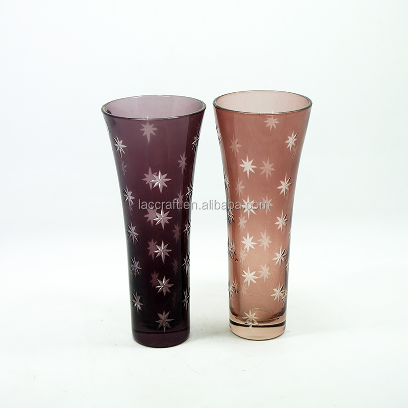 Star Design Cut To Clear Mini Cased Glass Vase Set Of 2