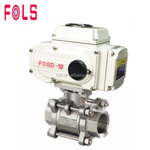 Long working life Electric actuator three piece type ball valve dn20