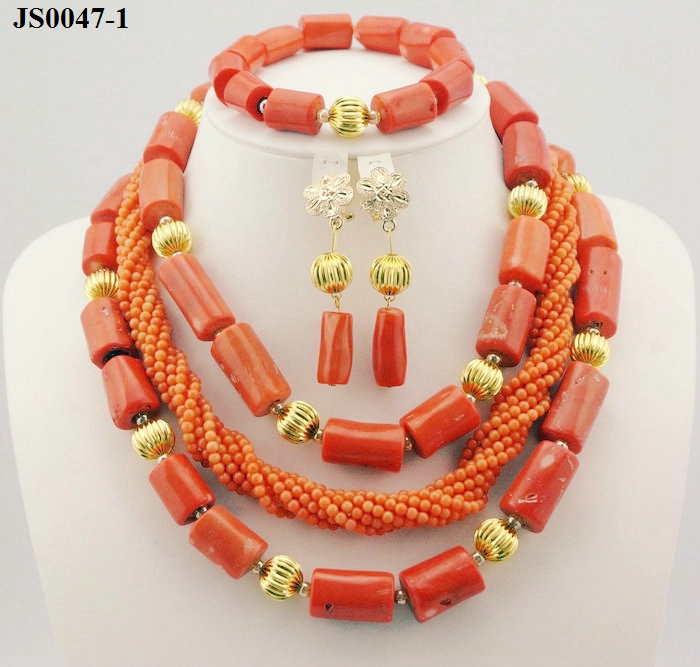 Latest Fashion Wedding Jewelry <strong>Set</strong> African Beads Necklace <strong>Set</strong> JS0047-1