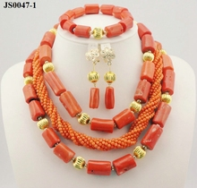 Latest Fashion Wedding Jewelry Set African Beads Necklace Set JS0047-1