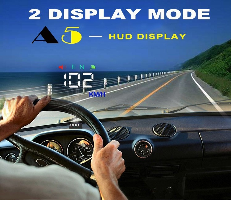 head up display 3.5 inch HD display screen HUD Two mode display gps speedmeter KM or MPH