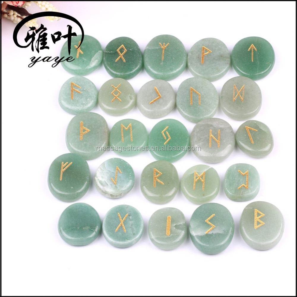 Bulk Wholesale Engraved Natural Green Aventurine Reiki Healing Rune Set