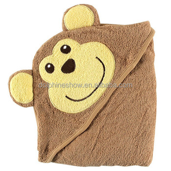 Cheap cute 100% cotton monkey baby bath towel with hood 2017 Fashion custom kids cartoon soft bamboo baby hooded bath towel