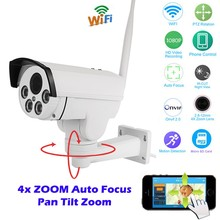 Bullet Wifi PTZ IP Camera 4X Zoom Auto Focus 2.8-12mm 2MP Outdoor Wireless IR Onvif SD Card