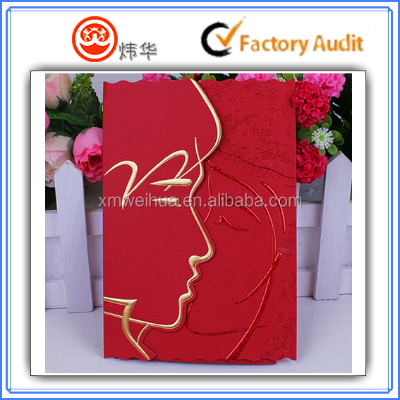2015 Customized design happy kiss hot stamping print wedding invitation card , wedding card