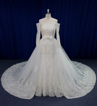 Off the shoulder sleeve lace wedding dress with detachable tail