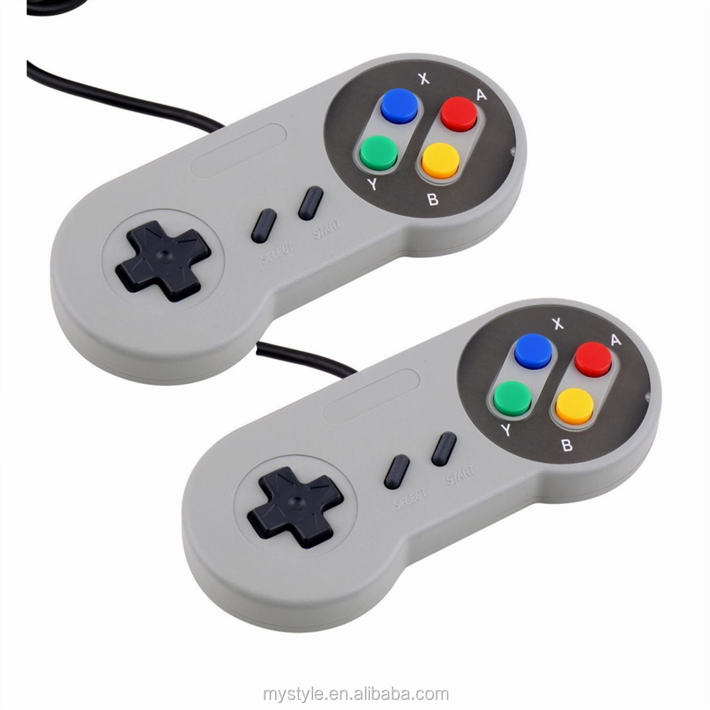 Classic SNES Retro USB Game Controller for Windows PC/MAC In Grey &Purple