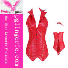 Charming special red Satin leather front closure Women Sexy Corset