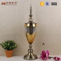 Wedding table decoration glass flower vases with metal stand for home decoration