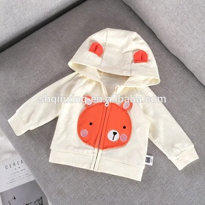 Spring Style Bear Patched Cotton Knitted Baby Hoodies