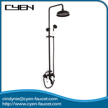 Classic triple handles wall mounted shower faucet shower head set