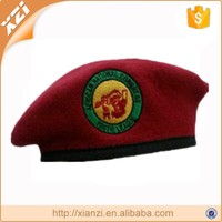 Custom Design Factory Made Embroidery Logo Royal Wool Beret Logo As Design