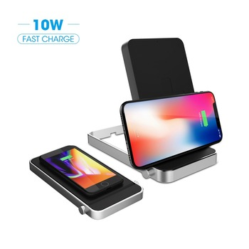 Adjustable Wireless Charger flexible rotation 2 coils QI wireless charging pad stand